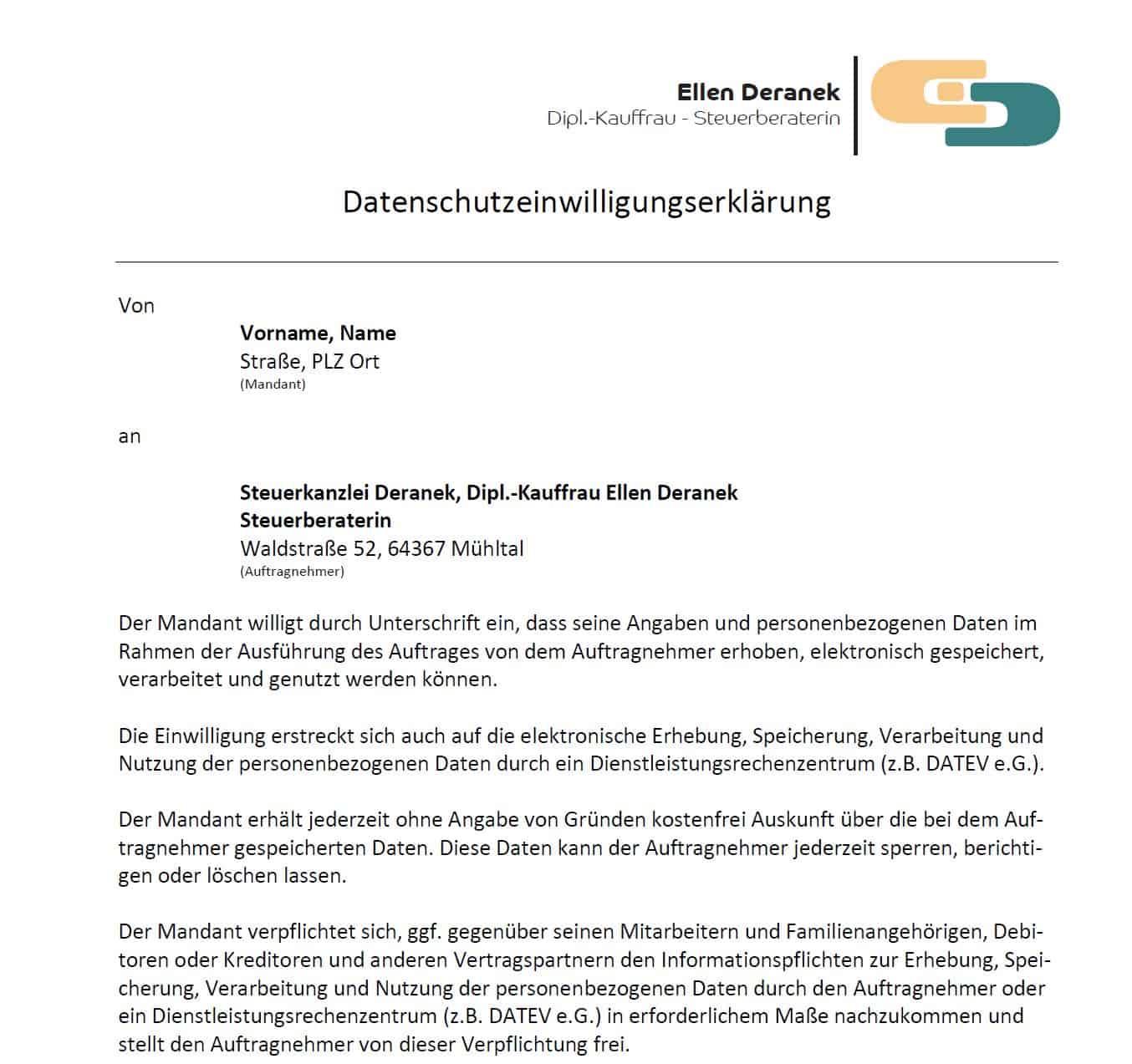 Datenschutzeinwilligung Steuerkanzlei Ellen Deranek