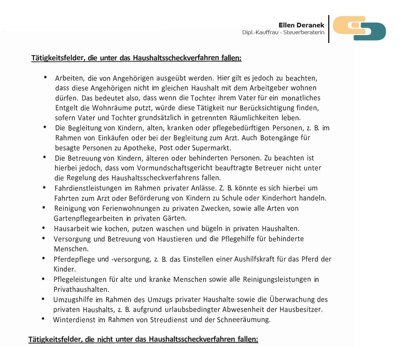 Haushaltsscheck Steuerkanzlei Ellen Deranek