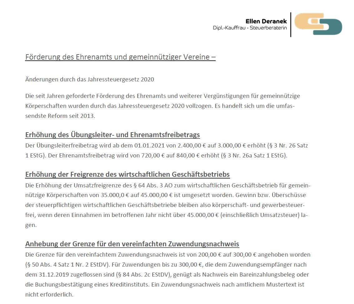 Förderung des Ehrenamts gemeinnütziger Vereine 2020